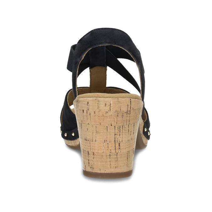 Černé dámské sandály z broušené kůže gabor, černá, 663-6603 - 15