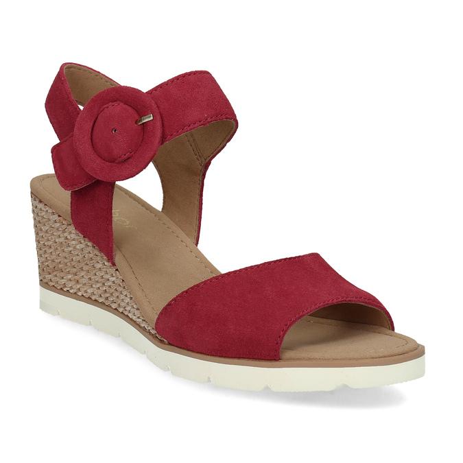Kožené červené sandály na přírodní platformě gabor, červená, 663-5606 - 13