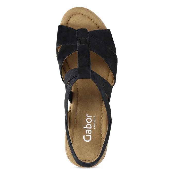 Černé dámské sandály z broušené kůže gabor, černá, 663-6603 - 17