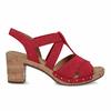 Červené dámské sandály z broušené kůže gabor, červená, 663-5602 - 19