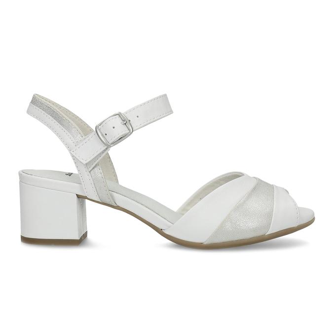 Bílé kožené sandály se stříbrnými detaily bata, bílá, 664-1602 - 19