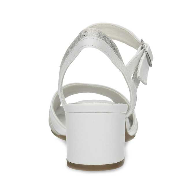 Bílé kožené sandály se stříbrnými detaily bata, bílá, 664-1602 - 15