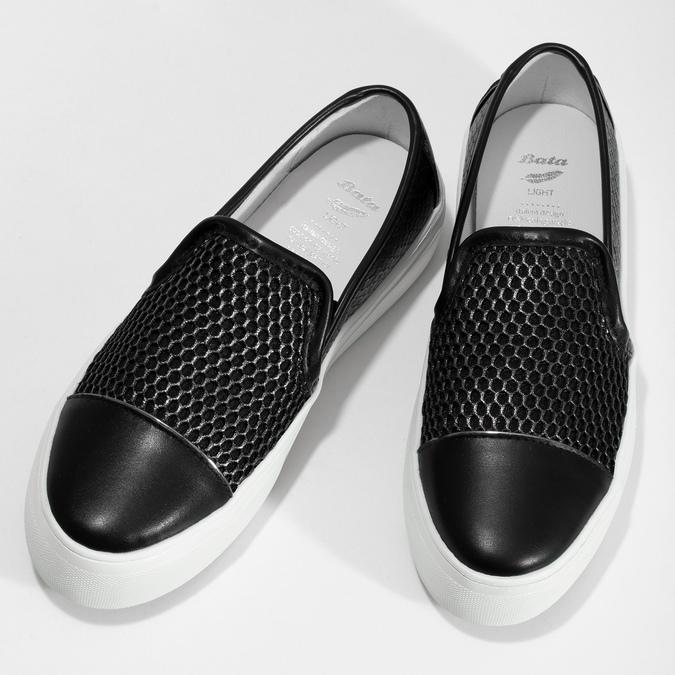 Černá dámská Slip-on obuv se strukturou bata-light, černá, 511-6615 - 16
