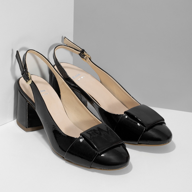 Černé lakované lodičky bata, černá, 628-6632 - 26