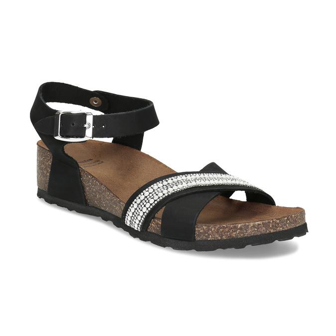 Černé kožené sandály s perličkami bata, černá, 666-6603 - 13