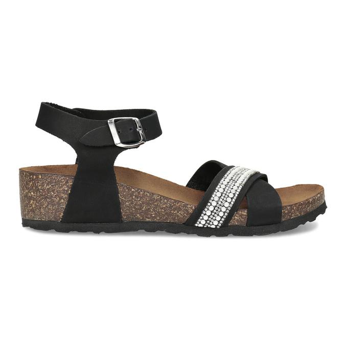 Černé kožené sandály s perličkami bata, černá, 666-6603 - 19