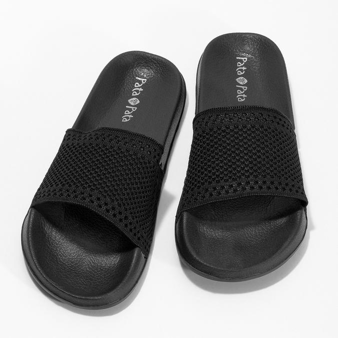 Černé dámské textilní nazouváky pata-pata, černá, 579-6689 - 16