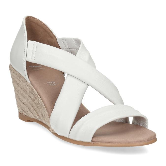 Bílé kožené sandály na klínku bata, bílá, 654-1600 - 13