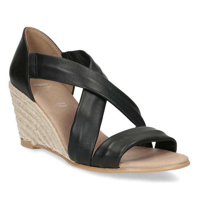 Kožené černé sandály na klínku bata, černá, 654-6600 - 13