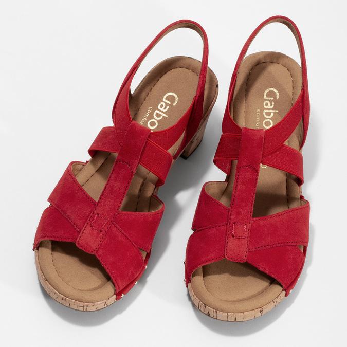 Červené dámské sandály z broušené kůže gabor, červená, 663-5602 - 16