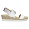 Kožené sandály na klínku bílé bata, bílá, 664-1600 - 19