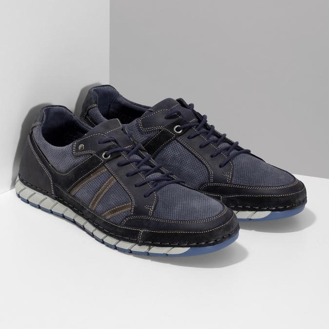 Ležérní pánské tenisky z broušené kůže bata, modrá, 843-9646 - 26