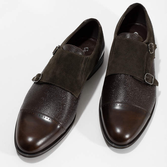 Pánské kožené Monk Shoes polobotky conhpol, hnědá, 826-4626 - 16