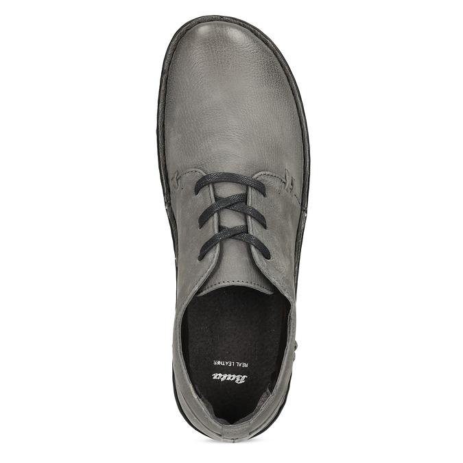 Šedé dámské kožené ležérní polobotky bata, šedá, 594-2601 - 17