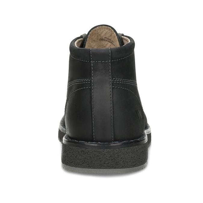 Pánská černá kožená kotníčková obuv weinbrenner, černá, 846-6658 - 15