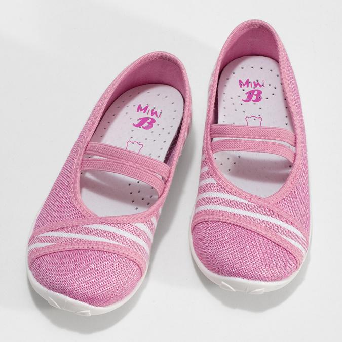 Růžové dětské přezůvky s bílou podešví mini-b, růžová, 379-5607 - 16