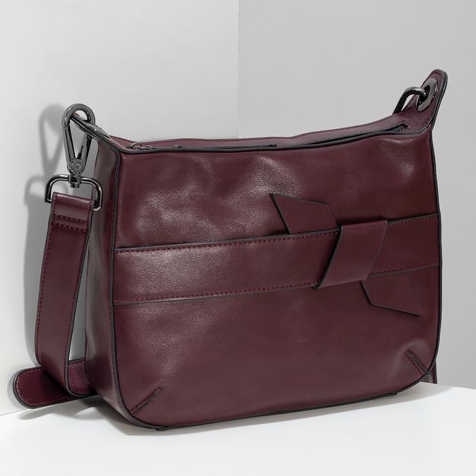 Vínová Crossbody kabelka s prošitím bata, červená, 961-5992 - 17