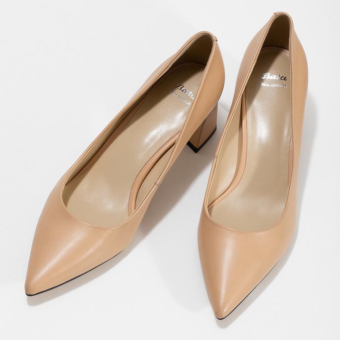 Béžové kožené lodičky na stabilním podpatku bata, béžová, 624-8612 - 16