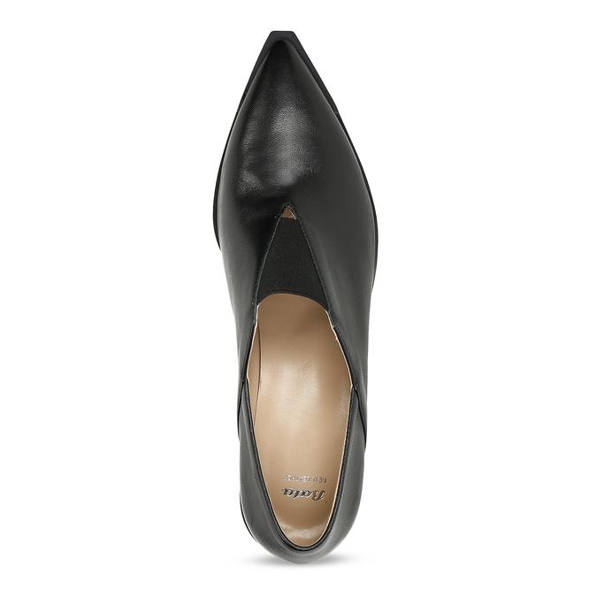 Dámské kožené polobotky do špičky bata, černá, 624-6617 - 17