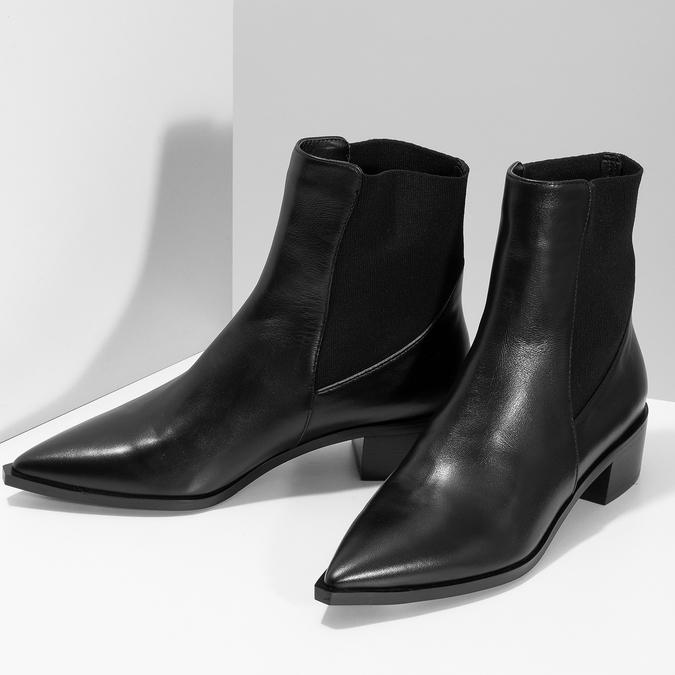 Kožené kotníčkové Chelsea kozačky bata, černá, 694-6617 - 16