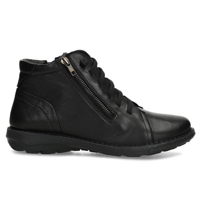 Kožená dámská černá kotníčková obuv bata, černá, 524-6617 - 19