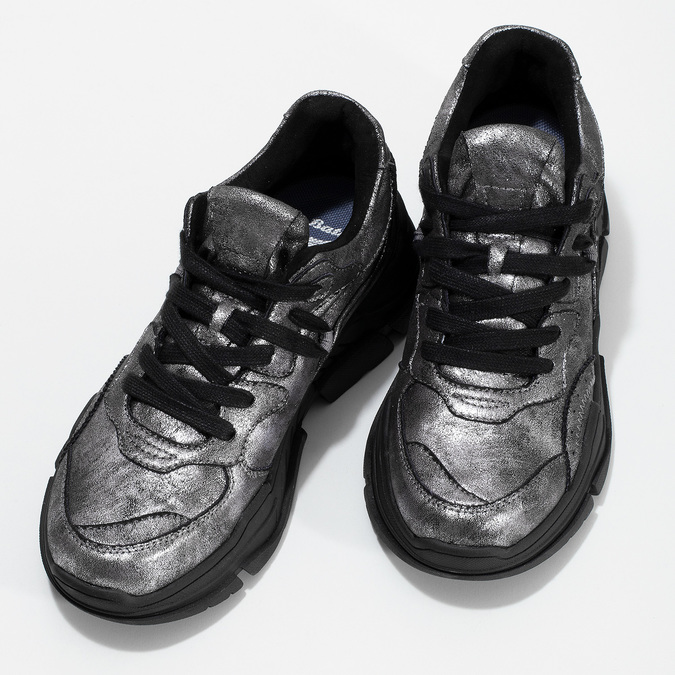 Stříbrné dámské tenisky v Chunky stylu bata-light, stříbrná, 641-4601 - 16
