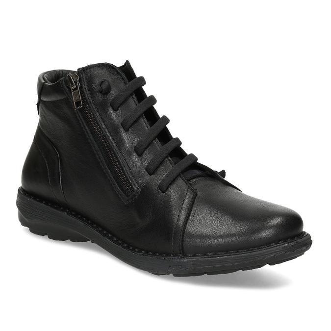 Kožená dámská černá kotníčková obuv bata, černá, 524-6617 - 13