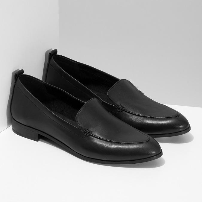 Černé dámské mokasíny kožené bata, černá, 534-6601 - 26
