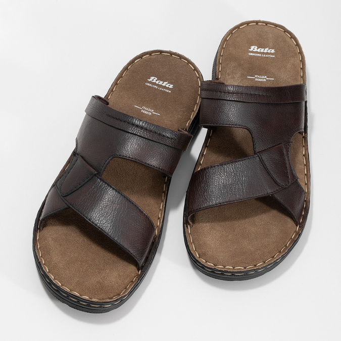 Pánské hnědé kožené nazouváky bata, hnědá, 866-4656 - 16