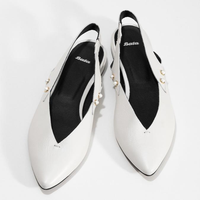Kožené bílé Sling-back lodičky bata, bílá, 524-1601 - 16