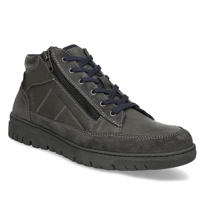 Kotníčková pánská obuv s prošitím bata, šedá, 846-2623 - 13