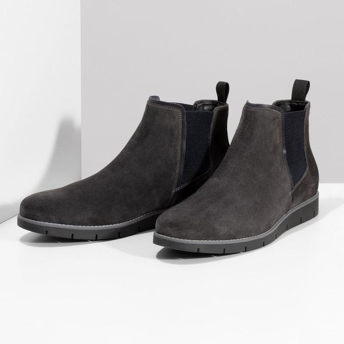 Šedá pánská kotníčková obuv z broušené kůže flexible, šedá, 823-2700 - 16