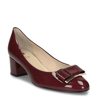 Vínové dámské kožené lakované lodičky hogl, červená, 628-5102 - 13