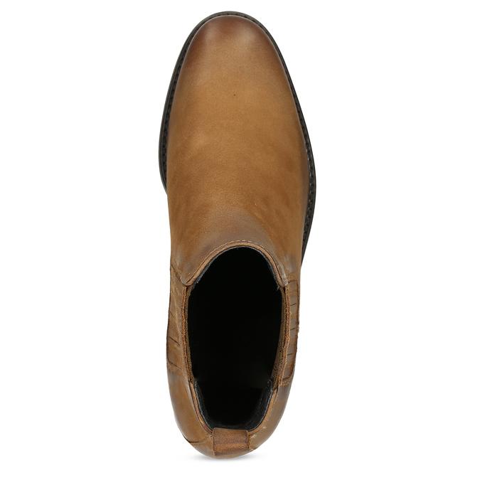 Dámské hnědé kožené kozačky v Chelsea stylu bata, hnědá, 596-4609 - 17