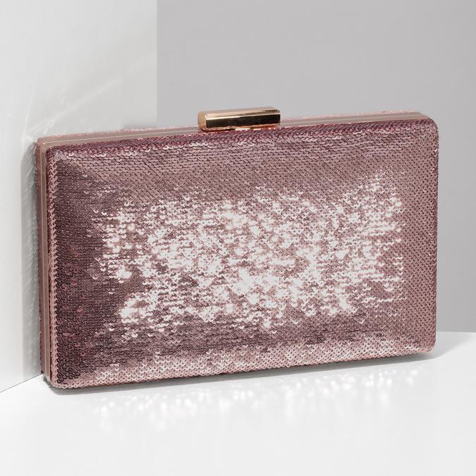 Růžové psaníčko s řetízkem a flitry bata, růžová, 961-8825 - 17