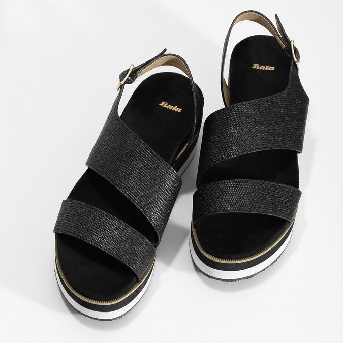 Černé dámské sandály na platformě bata, černá, 561-6631 - 16