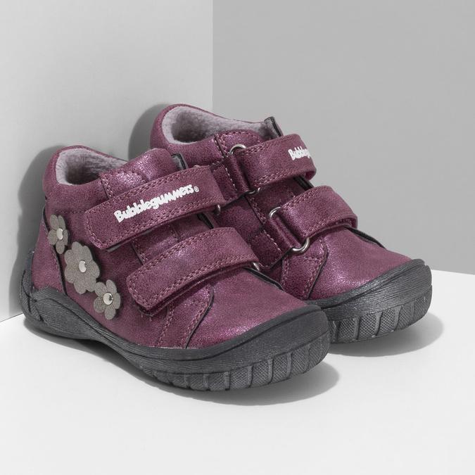 Fialová dětská kotníčková obuv na suché zipy bubblegummers, fialová, 121-9722 - 26