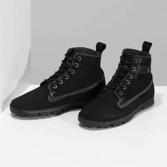 Kotníčkové kožená obuv s kontrastním prošitím weinbrenner, černá, 596-6602 - 16
