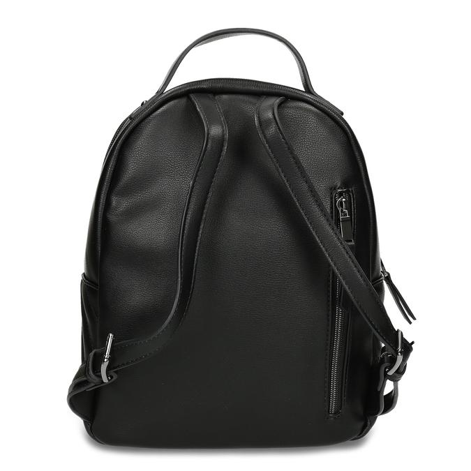 Dámský černý batoh s prošitím bata, černá, 961-6996 - 16