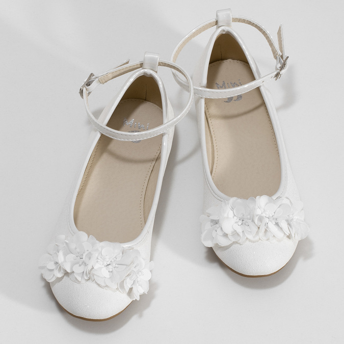 Dívčí bílé baleríny s kytičkami mini-b, bílá, 321-1162 - 16