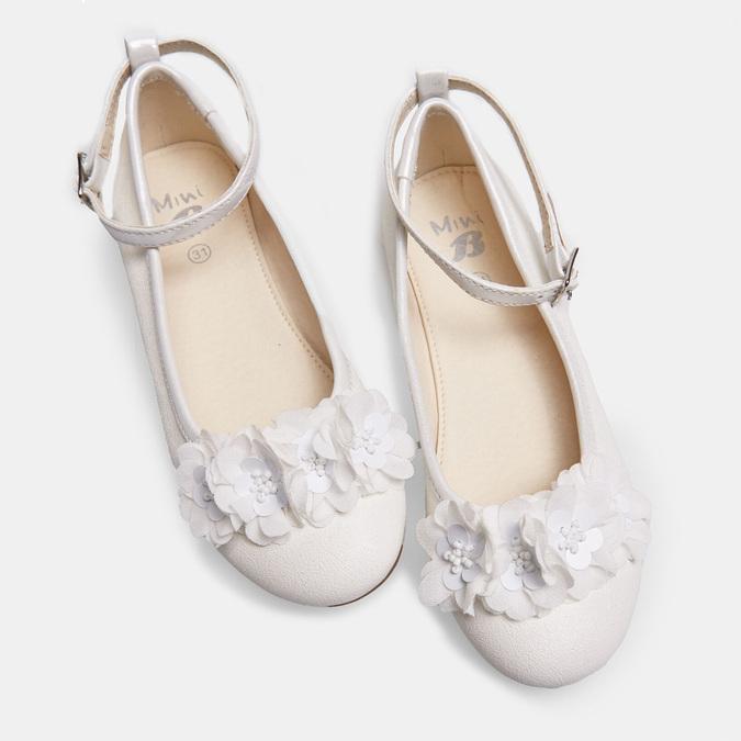 Dívčí bílé baleríny s kytičkami mini-b, bílá, 321-1162 - 26
