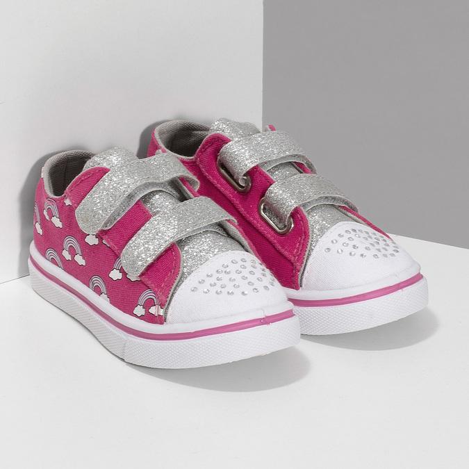 Růžové dětské tenisky s potiskem a kamínky mini-b, růžová, 229-5604 - 26