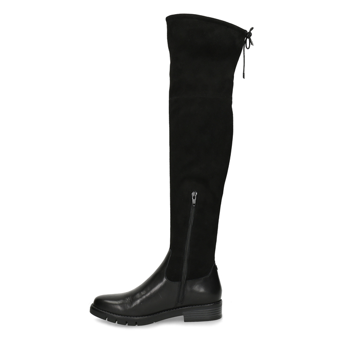 Černé kožené dámské vysoké kozačky flexible, černá, 594-4601 - 17