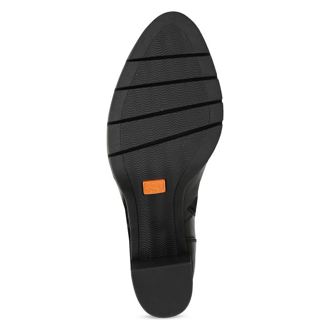 Černé kotníčkové kožené kozačky s přezkou flexible, černá, 794-6608 - 18