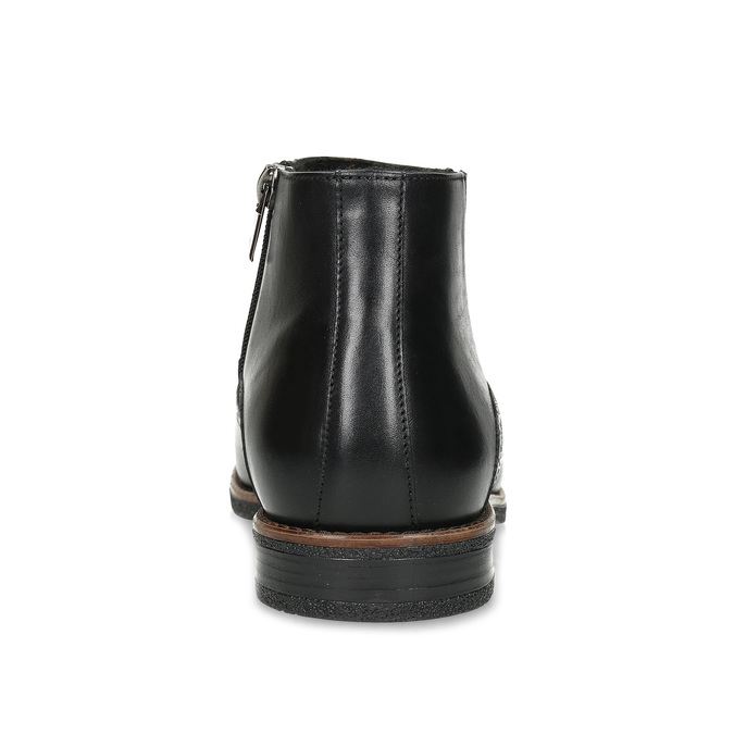 Pánská černá kožená kotníčková obuv conhpol, černá, 894-6602 - 15