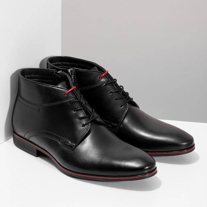 Kožená pánská černá kotníčková obuv conhpol, černá, 894-6600 - 26