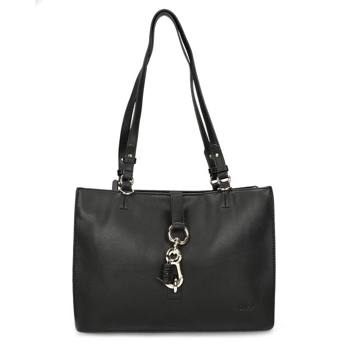 Černá dámská kabelka s kovovou sponou gabor, černá, 961-6129 - 26