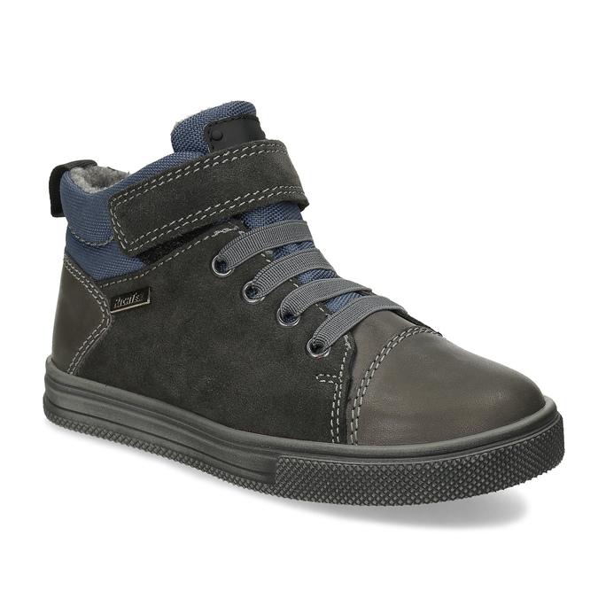 Šedá dětská kotníčková obuv z broušené kůže richter, šedá, 216-2600 - 13