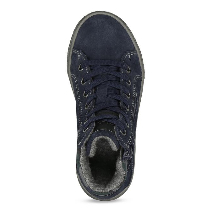 Tmavě modré dětské tenisky z broušené kůže richter, modrá, 213-9606 - 17