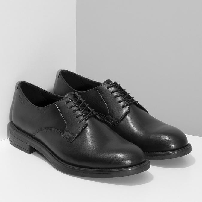 Černé dámské kožené Derby polobotky vagabond, černá, 524-6102 - 26